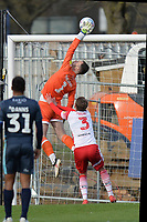 Joe Murphy of Bury tips the ball over the bar under pressure from Johnny Hunt of Stevenage during Stevenage vs Bury, Sky Bet EFL League 2 Football at the Lamex Stadium on 9th March 2019