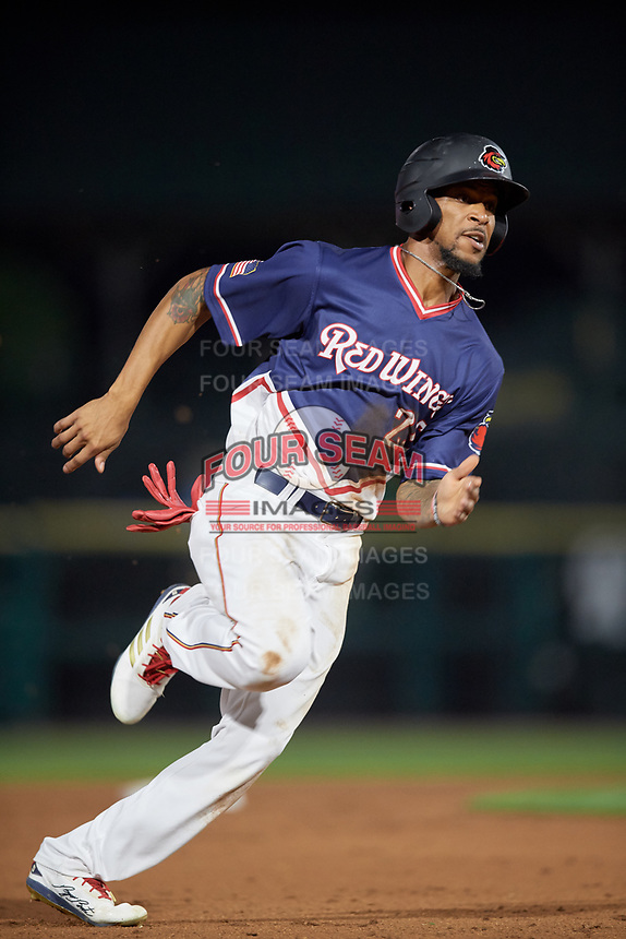 Rochester Red Wings center fielder Byron Buxton (25) runs the bases during a game against the Pawtucket Red Sox on July 4, 2018 at Frontier Field in Rochester, New York.  Pawtucket defeated Rochester 6-5.  (Mike Janes/Four Seam Images)