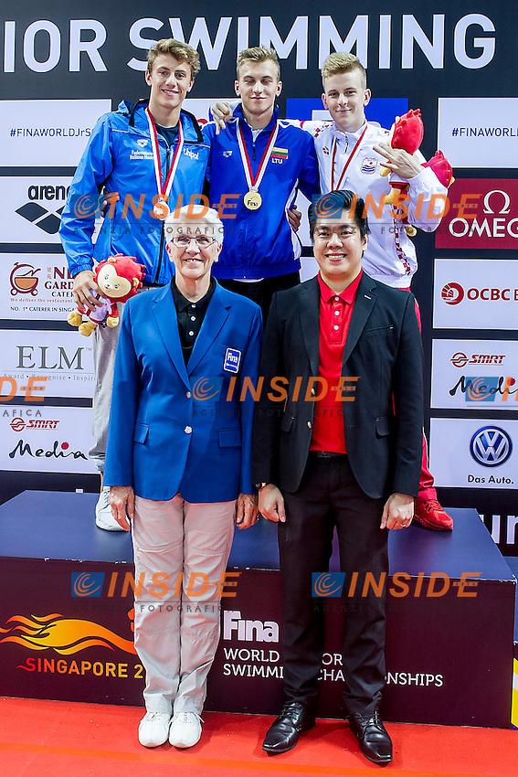OBROVAC Nikola<br /> SIDLAUSKAS Andrius LTU Gold Medal<br /> MARITNENGHI Nicolo' ITA Silver Medal<br /> OBROVAC Nikola CRO Bronze Medal<br /> 50 Breaststroke Men Final<br /> Day06 30/08/2015 - OCBC Aquatic Center<br /> V FINA World Junior Swimming Championships<br /> Singapore SIN  Aug. 25-30 2015 <br /> Photo A.Masini/Deepbluemedia/Insidefoto