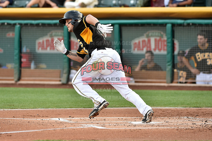 Shawn O'Malley (5) of the Salt Lake Bees at bat against the El Paso Chihuahuas in Pacific Coast League action at Smith's Ballpark on August 7, 2014 in Salt Lake City, Utah.  (Stephen Smith/Four Seam Images)