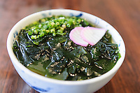 Udon noodles with wakame, Sanroku Honten, Tokushima, Tokushima Prefecture, Japan, February 3, 2012.