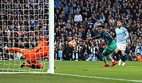 Manchester City's Bernardo Silva scores his side's second goal past Tottenham Hotspur's Hugo Lloris<br /> <br /> Photographer Rich Linley/CameraSport<br /> <br /> UEFA Champions League - Quarter-finals 2nd Leg - Manchester City v Tottenham Hotspur - Wednesday April 17th 2019 - The Etihad - Manchester<br />  <br /> World Copyright © 2018 CameraSport. All rights reserved. 43 Linden Ave. Countesthorpe. Leicester. England. LE8 5PG - Tel: +44 (0) 116 277 4147 - admin@camerasport.com - www.camerasport.com