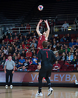 STANFORD, CA - March 2, 2019: Paul Bischoff, Kyle Dagostino at Maples Pavilion. The Stanford Cardinal defeated BYU 25-20, 25-20, 22-25, 25-21.