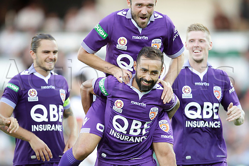 07.03.2016, Perth, Australia. Hyundai A-League, Perth Glory versus Newcastle Jets, Perth Glorys Gyorgy Sandor top and Diego Castro celebrate their second half goal.
