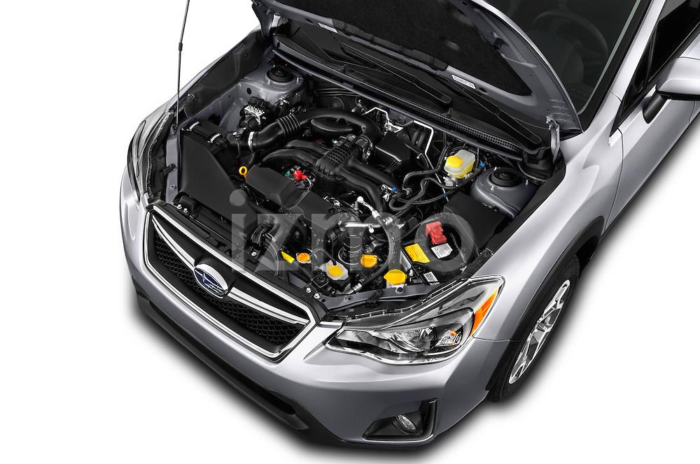 Car Stock 2017 Subaru Crosstrek 2.0i Premium CVT 5 Door SUV Engine  high angle detail view
