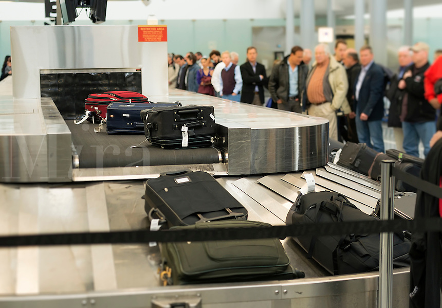 Baggage claim conveyor at Philadelphia airport, Pennsylvania, USA