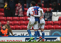 Blackburn Rovers' Bradley Dack celebrates scoring his side's first goal with Blackburn Rovers' Danny Graham<br /> <br /> Photographer Rachel Holborn/CameraSport<br /> <br /> The EFL Sky Bet League One - Blackburn Rovers v Blackpool - Saturday 10th March 2018 - Ewood Park - Blackburn<br /> <br /> World Copyright &copy; 2018 CameraSport. All rights reserved. 43 Linden Ave. Countesthorpe. Leicester. England. LE8 5PG - Tel: +44 (0) 116 277 4147 - admin@camerasport.com - www.camerasport.com