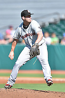 Birmingham Barons starting pitcher Tyler Danish (23) delivers a pitch during a game against the Tennessee Smokies on August 2, 2015 in Kodak, Tennessee. The Smokies defeated the Barons 5-2. (Tony Farlow/Four Seam Images)
