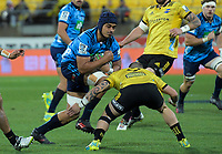 Blues' Gerard Cowley-Tuioti runs at Hurricanes' TJ Perenara during the Super Rugby match between the Hurricanes and Blues at Westpac Stadium in Wellington, New Zealand on Saturday, 7 July 2018. Photo: Dave Lintott / lintottphoto.co.nz