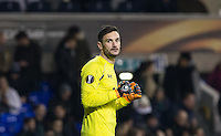 Goalkeeper Hugo Lloris of Tottenham Hotspur punches the air at the final whistle having kept a clean sheet during the UEFA Europa League 2nd leg match between Tottenham Hotspur and Fiorentina at White Hart Lane, London, England on 25 February 2016. Photo by Andy Rowland / Prime Media images.