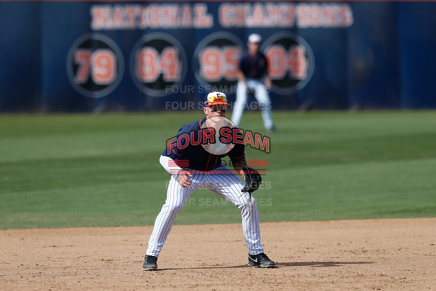 Matt Chapman #19 of the Cal State Fullerton Titans during a game against the Oregon Ducks at Goodwin Field on March 3, 2013 in Fullerton, California. (Larry Goren/Four Seam Images)