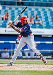 22 July 2018: Louisville Bats outfielder Gabriel Guerrero at bat against the Syracuse SkyChiefs at NBT Bank Stadium in Syracuse, NY. The Bats defeated the Chiefs 3-1 in AAA International League play. Mandatory Credit: Ed Wolfstein Photo *** RAW (NEF) Image File Available ***