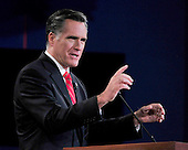Former Massachusetts Governor Mitt Romney, the Republican Party nominee for President, makes a point as he meets United States President Barack Obama, the Democratic Party nominee for President, during the first Presidential Debate of the 2012 General Election at the University of Denver in Denver, Colorado on Tuesday, October 2, 2012..Credit: Ron Sachs / CNP.(RESTRICTION: NO New York or New Jersey Newspapers or newspapers within a 75 mile radius of New York City)