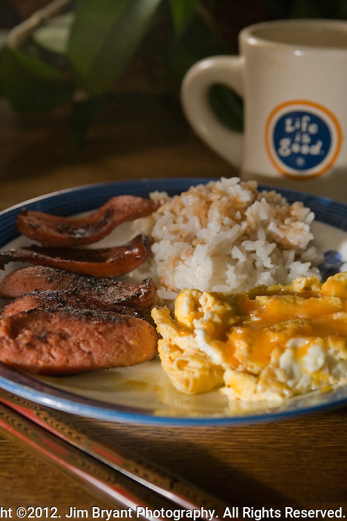 Portuguese  sausage, rice and eggs. ©2012. Jim Bryant Photo. All Rights Reserved.