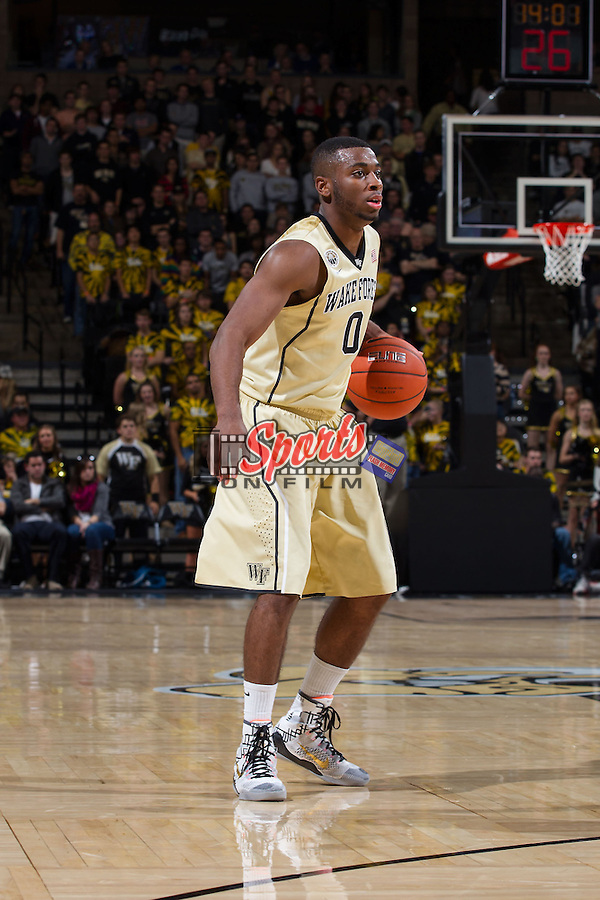 Codi Miller-McIntyre (0) of the Wake Forest Demon Deacons on offense during second half action against the UNC Asheville Bulldogs at the LJVM Coliseum on November 14, 2014 in Winston-Salem, North Carolina.  The Demon Deacons defeated the Bulldogs 80-69  (Brian Westerholt/Sports On Film)