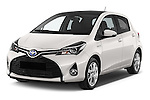 2015 Toyota Yaris Hybride Lounge 5 Door Hatchback 2WD Angular Front stock photos of front three quarter view