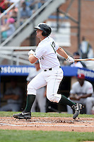 Jamestown Jammers designated hitter Taylor Gushue (13) at bat during a game against the Mahoning Valley Scrappers on June 16, 2014 at Russell Diethrick Park in Jamestown, New York.  Mahoning Valley defeated Jamestown 2-1.  (Mike Janes/Four Seam Images)