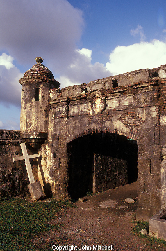 Entrance to Fuerte San Jeronimo, the largest fort built by the Spanish to protect the bay at Portobelo on the Caribbean coast of Panama