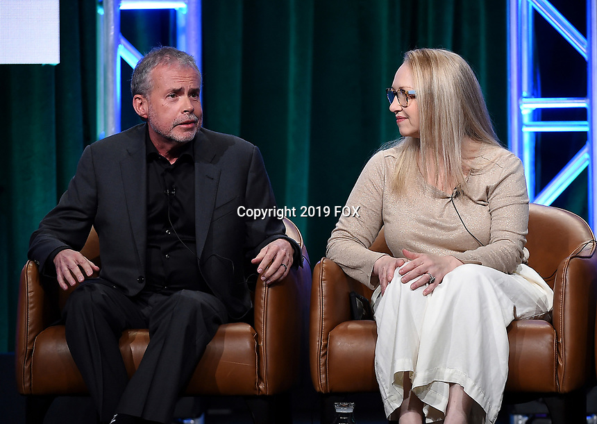 2019 FOX SUMMER TCA: (L-R): DUNCANVILLE Co-Creator/Writer/Executive Producers Mike Scully and Julie Scully during the ANIMATION DOMINATION: BLESS THE HARTS/DUNCANVILLE panel at the 2019 FOX SUMMER TCA at the Beverly Hilton Hotel, Wednesday, Aug. 7 in Beverly Hills, CA. CR: Frank Micelotta/FOX/PictureGroup