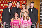 BALL: Having a ball at Gaelcholaiste Chiarrai and CBS The Green Debs at the Earl of Desmond Hotel, Tralee, on Thursday night were, front l-r: Aoife Sheehy and Aine Quane. Back l-r: Niall O'Shea, Neil Burns, Orla Curtin and James O'Connor..