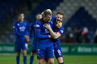 23rd November 2019; Caledonian Stadium, Inverness, Scotland; Scottish Championship Football, Inverness Caledonian Thistle versus Dundee Football Club; David Carson of Inverness Caledonian Thistle celebrates at the end of the match with Coll Donaldson <br />  - Editorial Use