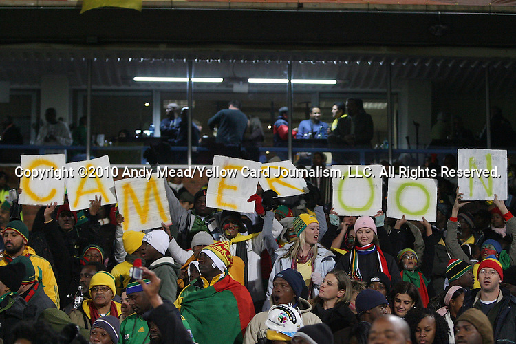 19 JUN 2010: Cameroon fans, pregame. The Denmark National Team defeated the Cameroon National Team 2-1 at Loftus Versfeld Stadium in Tshwane/Pretoria, South Africa in a 2010 FIFA World Cup Group E match.