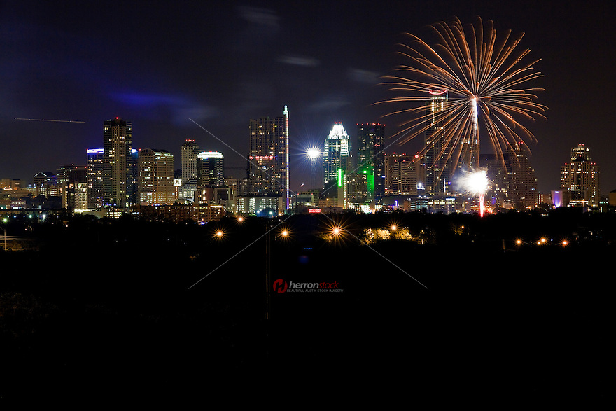 July 4th fireworks, downtown Austin, Texas USA