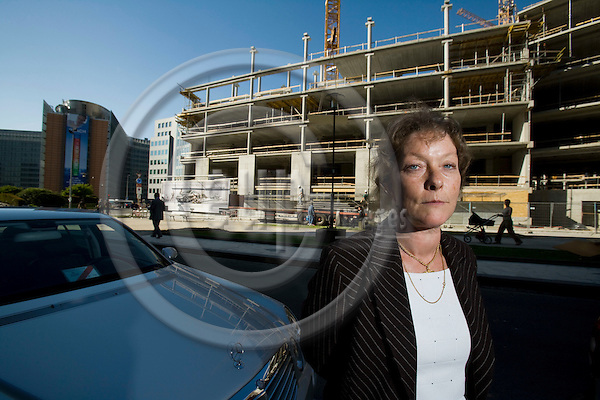 BRUSSELS - BELGIUM - 05 MAY 2008 -- Eva SREJBER, Vice-President of the European Investment Bank (EIB), seen her in Brussels with the European Commission building Berlaymont behind her and a new building under construktion. Photo: Erik Luntang/EUP-IMAGES