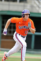 Sophomore outfielder Drew Wharton (13) of the Clemson Tigers in a fall practice intra-squad Orange-Purple scrimmage on Saturday, September 26, 2015, at Doug Kingsmore Stadium in Clemson, South Carolina. (Tom Priddy/Four Seam Images)