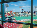 View from the press box at Fenway Park, home of the Boston Red Sox, Boston, Massachusetts, USA