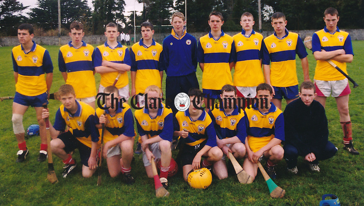 Crusheen, U-16 Division 1 hurling winners and Division 3 Spring League football winners. Back row, from left: Gerry O'Grady, Alan Cunningham, John Meaney, Michael Dillon, Shaun Dillon, Niall McMahon, Justin Corbett, Padriag Hassett, Sean Fitzgibbon (captain). Front, from left: Brian Hassett, Diarmuid O'Doherty, Alan Bridgdale, Brian Kearney, Kieran Linnane, Tony Meaney, Emmet O'Connor. Missifn from football team: Clive Earley.