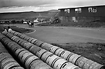 Sullom Voe 1970s Shetland Islands Scotland construction of oil industry site for BP British Petroleum to take North Sea oil. 1979.  Beer barrels outside a bar at a construction workers housing site.