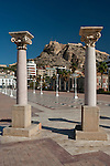 Harbour promenade and Santa Barbara castle, Alicante city, Spain,Europe