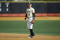 Wake Forest Demon Deacons second baseman Jake Mueller (6) on defense against the Louisville Cardinals at David F. Couch Ballpark on March 18, 2018 in  Winston-Salem, North Carolina.  The Demon Deacons defeated the Cardinals 6-3.  (Brian Westerholt/Four Seam Images)