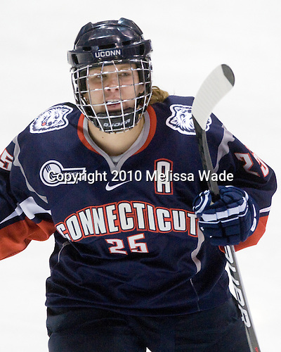 Cristin Allen (UConn - 25) - The University of Connecticut Huskies defeated the Northeastern University Huskies 4-1 in Hockey East quarterfinal play on Saturday, February 27, 2010, at Matthews Arena in Boston, Massachusetts.