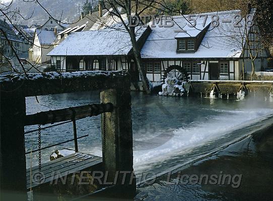 Gerhard, CHRISTMAS LANDSCAPE, photos, D.Die Hammerschmiede am Blautopf in Blaubeuren(DTMB578-28,#XL#) Landschaften, Weihnachten, paisajes, Navidad