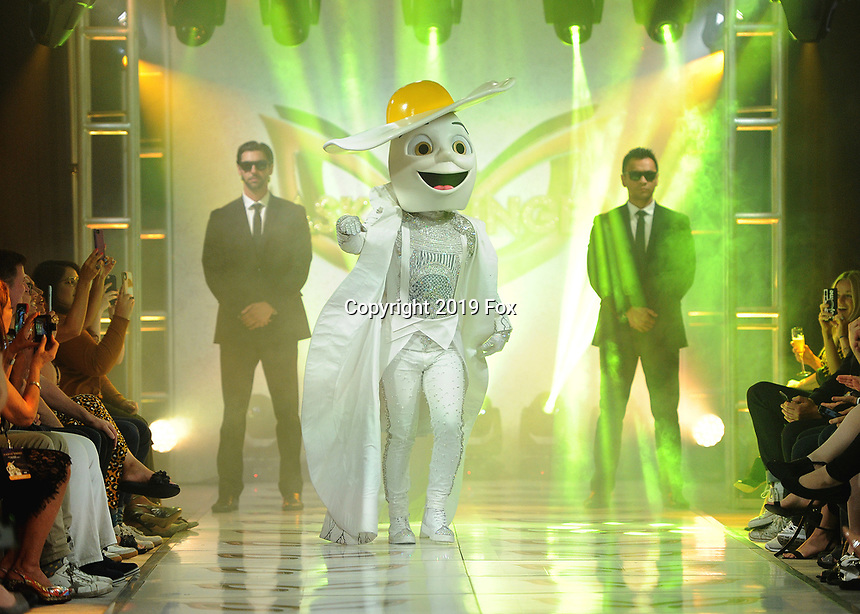 """BEVERLY HILLS - SEPTEMBER 10:  Egg at the Season two premiere event for FOX's """"The Masked Singer"""" at The Bazaar at the SLS Beverly Hills on September 10, 2019 in Beverly Hills, California. (Photo by Scott Kirkland/FOX/PictureGroup)"""