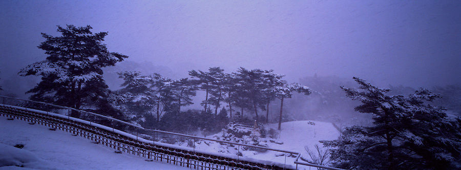 Snowy View From A Hotel In Sendai, Japan.