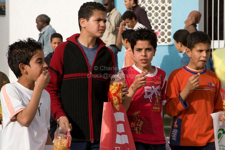 Tripoli, Libya, North Africa - Libyan Teenage Boys at International Trade Fair.  Casual Western Clothing Styles.