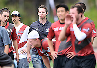 May 24, 2015; Los Angeles, CA, USA; Los Angeles Aviators owner Devin Miller watches from the sidelines against the San Francisco Flamethrowers in an American Ultimate Disc League (AUDL) match at Occidental College. The Aviators defeated the Flamethrowers 23-22. <br /> <br /> Photo by Kirby Lee