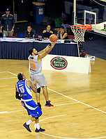 Darryl Jones lays a shot up during the national basketball league match between Wellington Saints and Taylor Hawks at TSB Bank Arena in Wellington, New Zealand on Friday, 17 March 2017. Photo: Dave Lintott / lintottphoto.co.nz