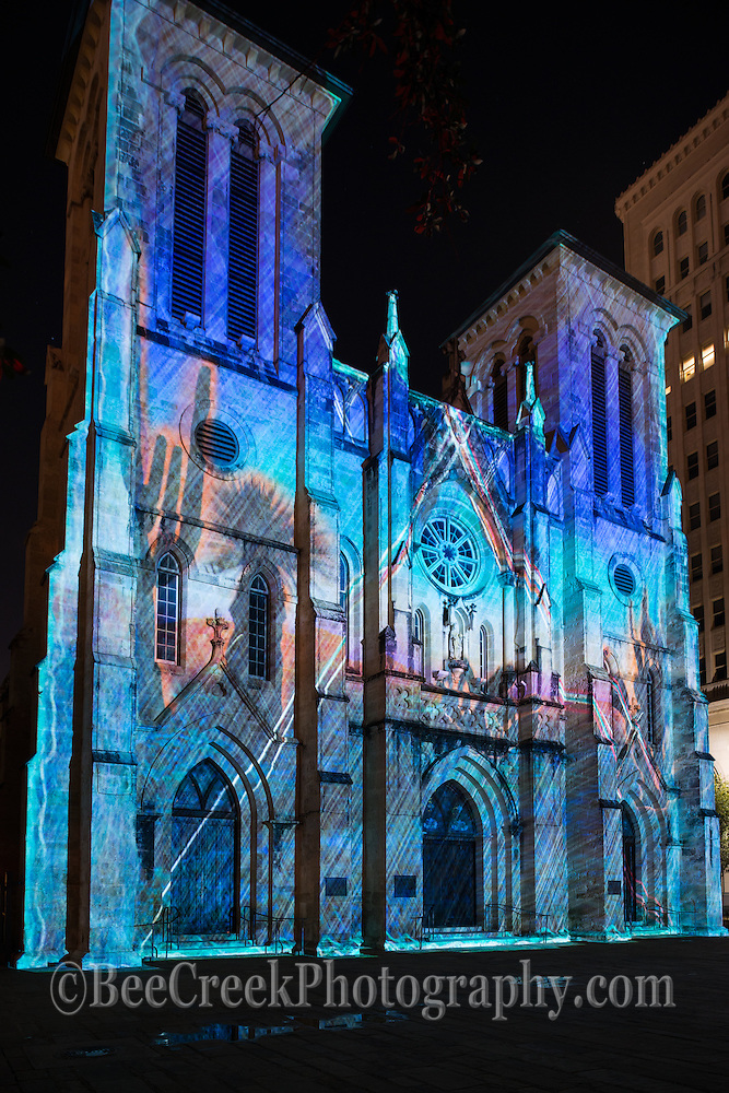 This is one of of the many beautiful looks of the San Fernado de Bexar Catherdral light called The Saga on the main plaza in in dowtown San Antonio.  San Fernando Cathedral seen like never before during this 24-minute show by French artist Xavier De Richemont, in which lights projected onto the cathedral tell the history of San Antonio from its beginning in this amazing light show to current times.