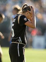 Tiffany Milbrett clutches her head after missing a shot attempt in the second half. Boston Breakers defeated FC Gold Pride 1-0 at Buck Shaw Stadium in Santa Clara, California on July 19, 2009.