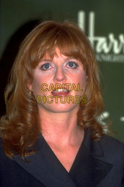 SARAH FERGUSON.Ref: 4341.pre 2001 .Book signing at Harrods.headshot portrait fergie mouth open black.CAP/PL.©Phil Loftus/Capital Pictures.