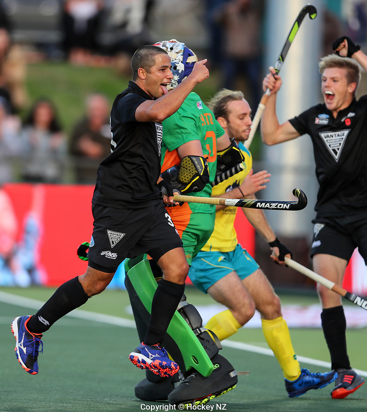 George Muir celebrates a goal. Pro League Hockey, Vantage Blacksticks Men v Australia, ANZAC test. North Harbour Hockey Stadium, Auckland, New Zealand. Thursday 25 April 2019. Photo: Simon Watts/Hockey NZ