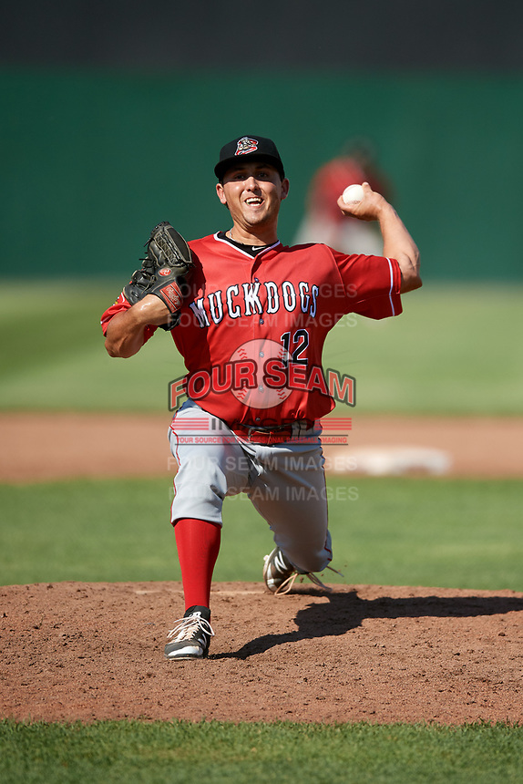 Batavia Muckdogs relief pitcher Karl Craigie (12) delivers a pitch during a game against the Auburn Doubledays on June 17, 2018 at Falcon Park in Auburn, New York.  Auburn defeated Batavia 10-6.  (Mike Janes/Four Seam Images)