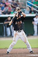 Eddy Alvarez (1) of the Kannapolis Intimidators at bat against the Hagerstown Suns at Intimidators Stadium on July 18, 2015 in Kannapolis, North Carolina.  The Intimidators defeated the Suns 1-0.  (Brian Westerholt/Four Seam Images)