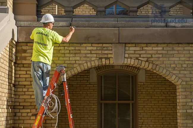 Jul. 20, 2015; Main Building tuck pointing work, Summer 2015. (Photo by Matt Cashore/University of Notre Dame)