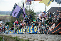 Zdenek Stybar (CZE/Etixx-QuickStep) (who lost some teeth along the way) &amp; Geraint Thomas (GBR/SKY) charging up the Paterberg cobbles<br /> <br /> 99th Ronde van Vlaanderen 2015