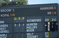 The scoreboard is adjusted as Cam Hawkins retires hurt during day two of the Plunket Shield cricket match between the Wellington Firebirds and Otago Volts at the Basin Reserve in Wellington, New Zealand on Tuesday, 22 October 2019. Photo: Dave Lintott / lintottphoto.co.nz